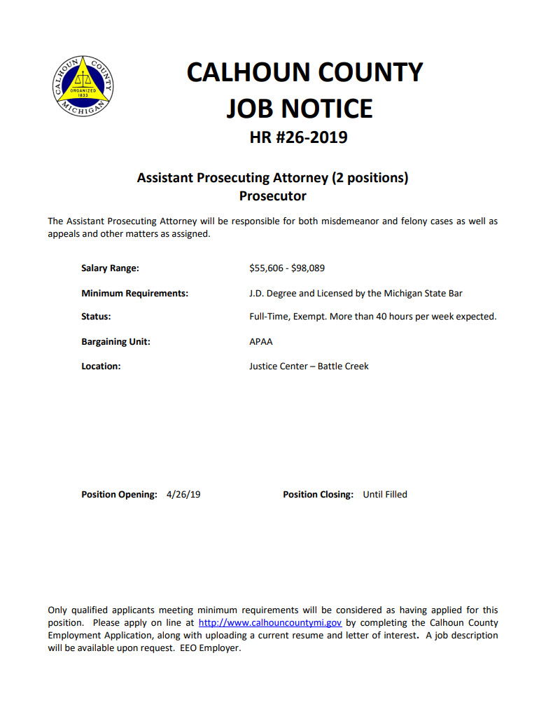 PAAM - Assistant Prosecuting Attorney - Calhoun County